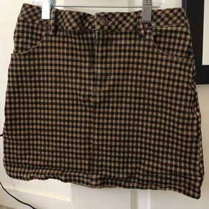 Brownish plaid skirt
